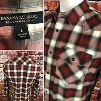 Banana Republic Mens Tailored Slim Fit Red Plaid Pearl Snap Shirt Large F531
