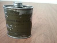 Vintage Cleaner Rifle Bore Gun Cleaner Oil Metal Tin Can Army WWII USA 2 oz.