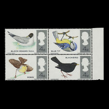 Great Britain 1966 (Error) 4d British Birds ordinary block missing red