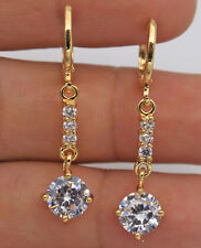 18K Yellow Gold Filled - 1.5'' Round White Topaz Fashion Women Hoop Earrings New