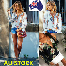 Women Strappy V Neck Floral T Shirt Chiffon Long Sleeve Crop Tops Casual Blouse