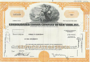 CONSOLODATED EDISON COMPANY STOCK CERTIFICATE FROM THE 1960S