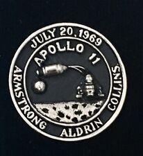 Apollo 11 XI Moon Landing Lunar Mission Silver Plated Lapel Pin Black Fill NOS