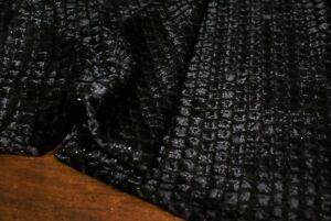 1m x 132m 'BLACK SNAKE' Silk Cotton Lurex Velour Voile Fabric