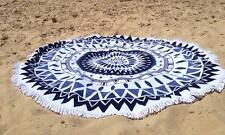 Unique Style Round Beach Towel this Fun Summer Holidays (Blue Geometric)
