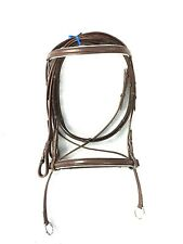 New Leather CrossOver Bitless Bridle Brown and White Full Size Free Shipping