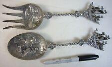 Antique 1926 Dutch 833 Silver Pair Spoon & Fork w/ Figural Ship Finial 218-g