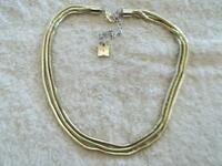 "Signed ""Anne Klein"" Necklace, Triple Strands, Gold Tone Metal Snake Chain Design"
