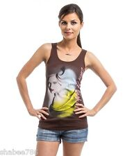 J2 New Brown Sleeveless Cami Tank TOP Sexy Printed Blouse Juniors S M L