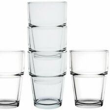 Set of 6 Stackable Small Water Juice Glasses 170ml Everyday Tumblers Drinks Cups