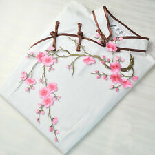 Pink Plum Blossom Flower Applique Embroidered Collar Sew Iron Patch Bust Dress