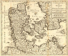 'Carta Nuova del Regno di Danimarca…' by Isaac TIRION. DENMARK c1750 old map