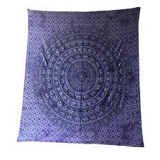 Couverture indienne Tenture Paisley Éléphants violet noir 230x210cm Tie Dye