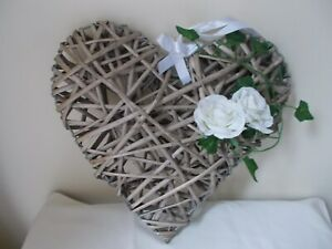 LARGE RUSTIC WICKER HANGING WEDDING HEART 38CM
