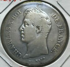 1827 A France 5 Francs - Big Silver - Cleaned