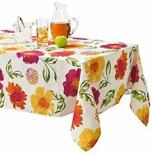 NWT LOLA FLORAL TABLECLOTH SUMMER FLOWERS FABRIC ROUND 70 RED ORANGE PINK YELLOW