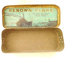 Vintage 1930 tobacco tin Renown Flake Dominion Dreadnought advertising metal box