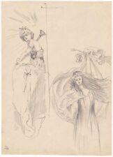 Original dated 1891 ART NOUVEAU portrait studies, Austrian artist