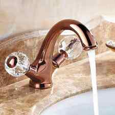 Luxury Rose Gold Design Basin Mixer Tap Bathroom Two Crystal Handle Sink Faucet
