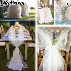 100yards White Organza Fabric Yarn Tulle Roll Sheer for Wedding Backdrop Decor