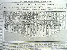 1886 newspaper w very detailed street MAP & descript of ATLANTIC CITY New Jersey