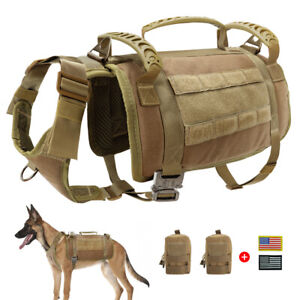 No Pull Dog Tactical Harness Military MOLLE Vest w/3 Side Bag+2 Patches Doberman