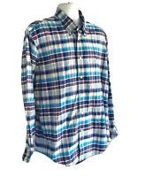 Brooks Brothers 1818 Mens LS Button Front Shirt Plaid Size XL 100% Cotton B11