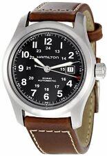 H70555533 Hamilton Khaki Land Field Brown Leather Strap Black Mens Watch 42 mm
