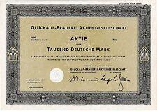 GLÜCKAUF Brauerei AG Gelsenkirchen hist. DM Aktie 1953 Dortmund Brau und Brunnen