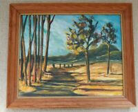 Vintage 1960's Acrylic Painting -  Landscape - Signed/Unknown - Framed 19.5x23.5
