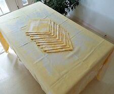"Vintage Damask YELLOW & WHITE Tablecloth +10 MATCHING NAPKINGS 72"" x 90"""