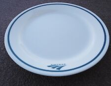 "1 Corelle BLUE AMTRAK Dinnerware 9"" LUNCH PLATE Railroad Train BLUE STRIPE *NEW"