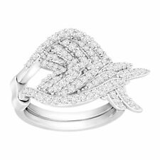 Angel Wings Swing Ring with Cubic Zirconia in Sterling Silver-Plated Brass
