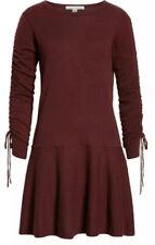 Autumn Cashmere Drop Waist Cashmere Dress Burgundy Black Rose Medium NWT Rouchin