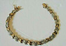 "Gold Vermeil on .925 Sterling Silver Illusion Bracelet 7.5"" 11.4g"