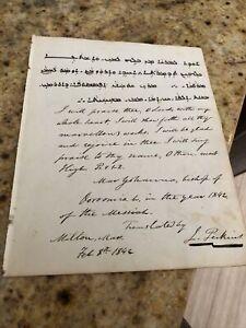 Rare 1842 US Missionary Justin Perkins & Persian Bishop Mar Yohannan Signed Note