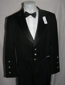 Kinloch Anderson Silver Button Peak Lapel Tuxedo Jacket Coatee 40L NWT