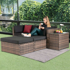 5PCS Rattan Wicker Sofa & Table Set Sectional Cushioned Furniture Patio Outdoor