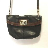 BRIGHTON Black & Brown Genuine Heavy Leather Fold Over Shoulder Bag Purse