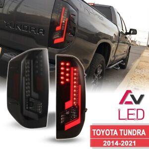 14-21 For Toyota Tundra Black Smoke DRL LED Tube Tail Lights Brake Left+Right