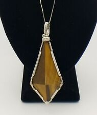 Large Tiger's Eye Sterling Silver Geometric Drop Pendant Necklace – HSN