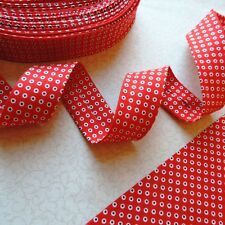 """Bias Binding Pirate Dots Red Cotton Extra Wide 2½"""" Handmade Bias Quilting ~30mm"""