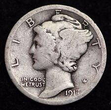 1917-P MERCURY DIME / CIRCULATED GRADE GOOD / VERY GOOD 90% SILVER COIN