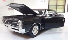 LGB 1:24 Scale 1966 Pontiac GTO Hardtop V8 Black Diecast Model Car New Ray 71853