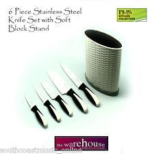 WHITE BLOCK KNIFE SET 6 PIECE STAINLESS STEEL BLADES