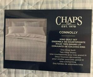 Chaps Connolly Gray/Blue & White Plaid 3 Piece King Quilt Set NWT
