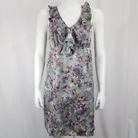 Ann Taylor Loft Petites Women's Dress Size 4P Ruffle Neck  Gray Purple Floral