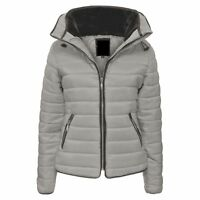 Girls Kids Padded Quilted Warm Winter Thick Puffer Bubble Fur Collar Jacket Coat