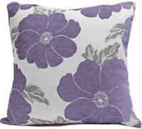 """FILLED POPPY PURPLE SILVER BEIGE CHENILLE FLORAL THICK CUSHION 22"""" - 55CM"""