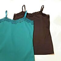 Two Cleo Women's Camisoles Black and Teal Size Small Beaded Lace Neckline
